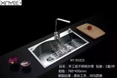 心意卫浴  手工不锈钢水槽 xy-91016带沥水篮防冷凝层 防噪消音S型下水管