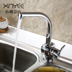 心意   厨房水龙头 冷热水槽水龙头 洗菜盆龙头 铜可旋转水龙头   XY-15055