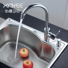 心意水槽套餐 厨房洗菜盆 水槽单槽 304不锈钢水槽套餐 一体成型91007