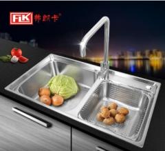 弗朗卡 8245A2水槽双槽不锈钢洗菜盘厨盆厨房洗碗盘加厚沥水架套餐 820*450 水槽+沥水篮