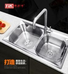 弗朗卡 7540A1水槽双槽304拉丝不锈钢  带水龙头 750*400 水槽+沥水篮