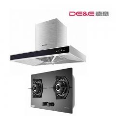 DE&E/德意CXW-200-850B+JZT(Y.R)-713B 顶吸式大吸力抽吸油烟机燃气灶套餐厨房烟灶套餐 天然气