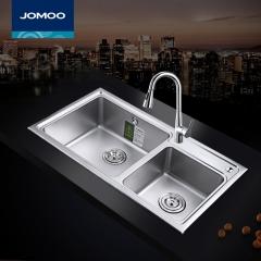 九牧(JOMOO) 加厚双槽套餐厨房菜盆304不锈钢06131 裸槽(820*450mm) 裸槽