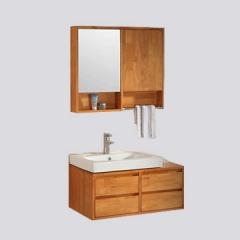 纳蒂兰卡3318现代中式橡木挂墙式浴室柜组合卫生间洗漱台洗脸盆柜套装 3318-70 [挂墙式]带龙头