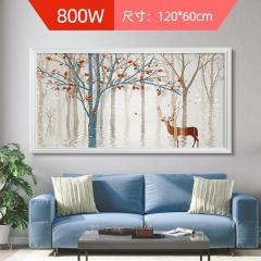 多朗碳晶墙暖壁画取暖器壁挂家用节能速热电暖器省电静音电暖画 秋色麋鹿 800W