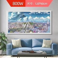 多朗碳晶墙暖壁画取暖器壁挂家用节能速热电暖器省电静音电暖画 手绘摩轮 800W