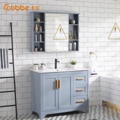 卡贝卫生间洗漱台一体洗手盆洗脸盆柜组合落地式美式浴室柜Y1213 Y1213-80-海灰