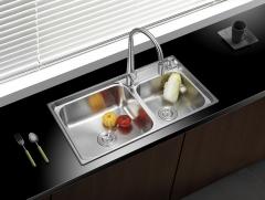 弗朗卡 7540A2水槽双槽304拉丝不锈钢  带水龙头 750*400 水槽+沥水篮